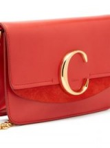 CHLOÉ The Chloe mini red leather and suede cross-body bag | designer monogrammed crossbody