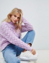 The East Order Adel textured jumper in baby violet | lilac high neck sweater
