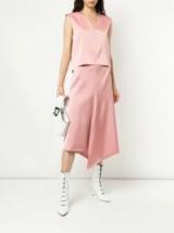 TIBI asymmetric draped skirt in pink haze