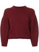 TIBI dark-red cropped sweater