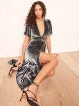 Reformation Tiffany Dress in Caviar | velvet luxe style partywear