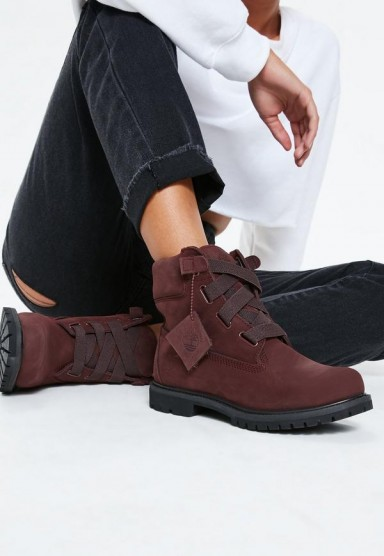timberland burgundy premium 6 inch convienience boots – wide lace ankle boot