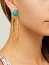 SYLVIA TOLEDANO Turquoise and twisted hoop earrings