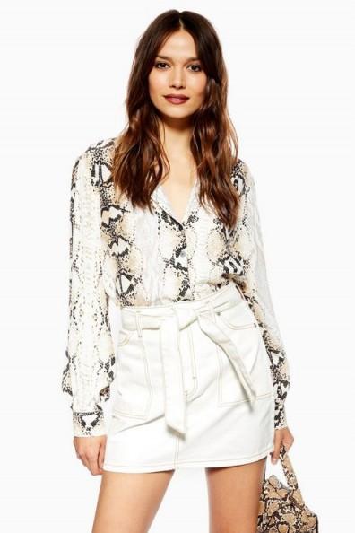 Topshop Utility Belted White Denim Skirt