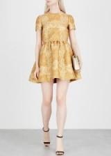VALENTINO Gold brocade mini dress ~ metallic fit and flare
