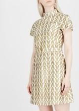 VALENTINO Gold jacquard high neck mini dress ~ metallic graphic logo design