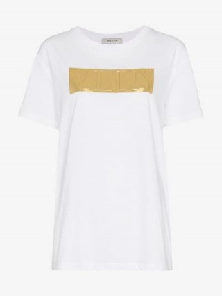 Valentino Gold Logo Print White Crew Neck Cotton T-Shirt ~ casual luxe tee