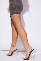 IN THE STYLE VELDI BLACK CLEAR STRAP BARELY THERE BLOCK HEELS – transparent party heels