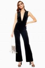 Topshop Velvet Plunge Jumpsuit in Black | open back jumpsuits