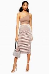 Topshop Mink Velvet Ruched Midi Skirt   gathered pencil skirts