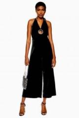 Topshop Velvet Trim Jumpsuit in Black