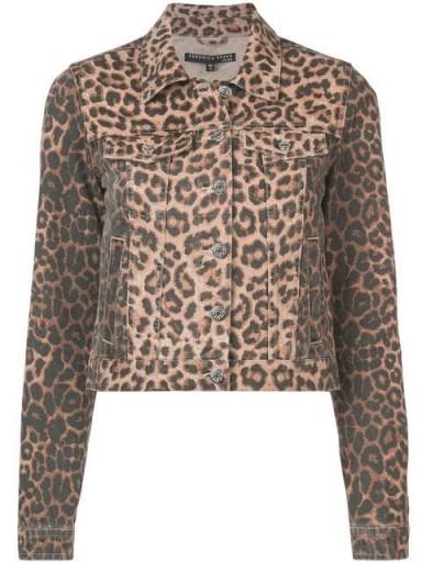 VERONICA BEARD leopard print denim jacket in brown