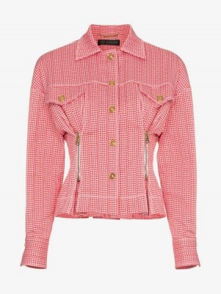 Versace Red and White Check Print Zip Detail Cropped Jacket