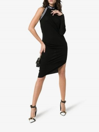 Versace Black One Sleeved High Neck Midi Dress ~ lbd ~ party glamour