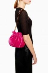 Topshop Viv Velvet Link Pouch in Pink | small bright shoulder bag