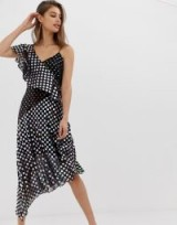 Warehouse asymmetric midi dress in mixed spot foil print