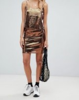 weekday sequin mini skirt in copper | sequined skirts