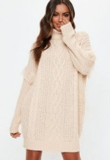Missguided white roll neck knitted fringed jumper dress | cable knit sweater dresses