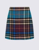 M&S COLLECTION Wool Rich Checked A-Line Mini Skirt in Blue Mix / tartan skirts