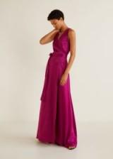 MANGO Wrapped satin dress in fuchsia – VON | sleeveless maxi