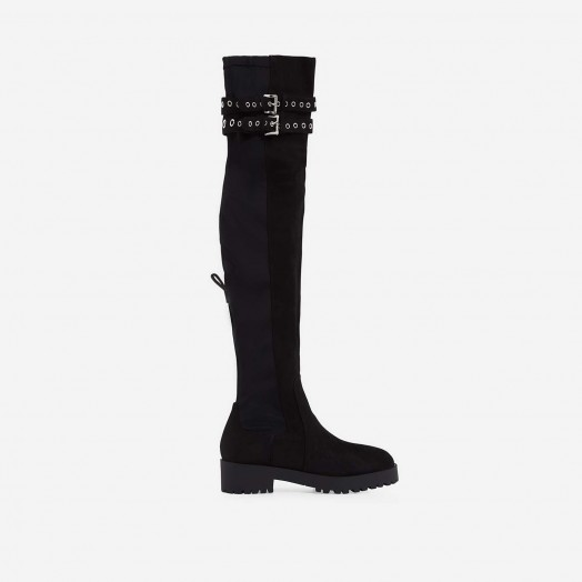 EGO Yoel Over The Knee Long Boot In Black Faux Suede – long eyelet strap boots