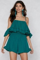NASTY GAL You Just Keep Getting Better Ruffle Romper in Green   strappy party playsuit