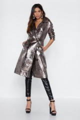 NASTY GAL You're Out of This World Metallic Coat in Silver – statement trench