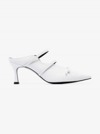 Yuul Yie Judith 70 White Leather Bow Embellished Mules