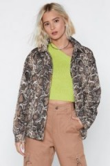 NASTY GAL A Moment Like Hiss Snake Jacket in Stone