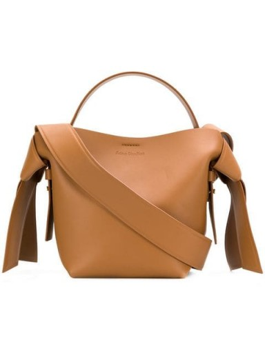 ACNE STUDIOS Musubi Mini shoulder bag in brown leather   small side knot detail handbag
