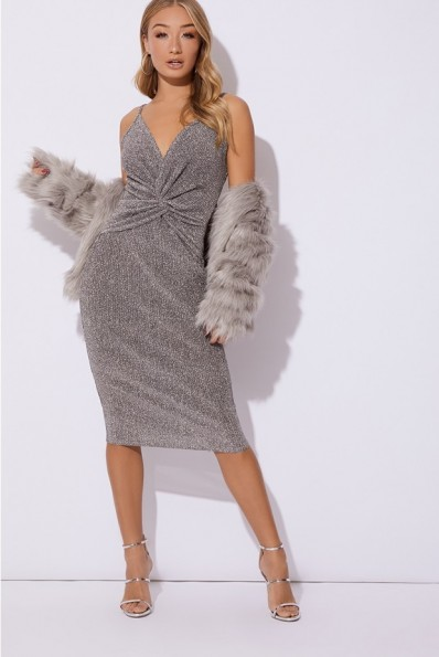 IN THE STYLE ADISYN SILVER GLITTER PLUNGE TWIST FRONT MIDI DRESS – party glamour