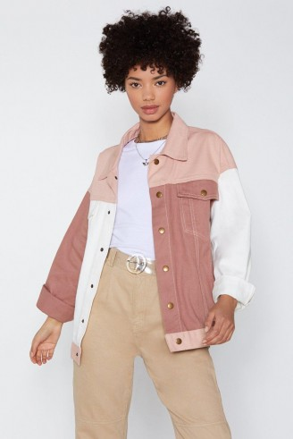 NASTY GAL Ain't Gotta Patch Denim Jacket in Pink – colour block jackets