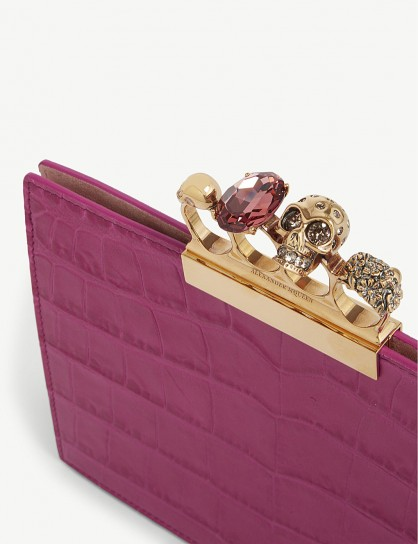 ALEXANDER MCQUEEN Crocodile-effect jewelled knuckleduster leather clutch in deep orchid ~ luxe evening bags