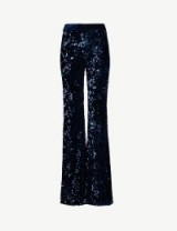 ALEXIS Benny sequin-embellished high-rise velvet trousers in navy ~ bling party pants