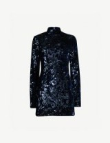 ALEXIS Rhapsody high-neck sequin-embellished velour dress in navy ~ blue bling party dress