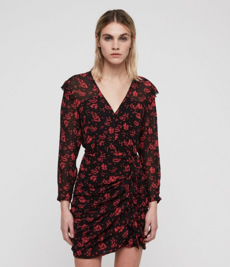 ALLSAINTS HARLOW EIRA DRESS coral red – ruched floral dresses