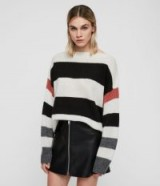ALLSAINTS SUWA JUMPER chalk/black – oversized bold striped sweater