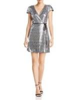 AQUA Sequined Cap-Sleeve Wrap Dress in silver ~ metallic party wear
