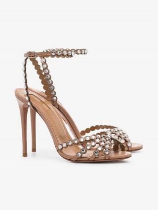 Aquazzura Pink Tequila 105 Suede Crystal Embellished High Heels / ankle strap sandals