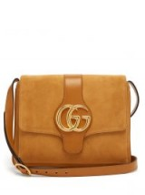 GUCCI Arli GG suede and leather cross-body bag in tan / designer logo bags