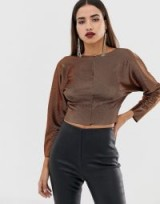 ASOS DESIGN batwing top in metallic gold plisse – cropped party tops