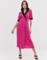 ASOS DESIGN collared wrap midi dress in ditsy floral/pink | vintage style fashion