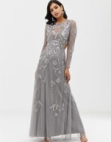 ASOS DESIGN ergonomic embellished maxi dress in grey – glamorous cut-out occasion dresses