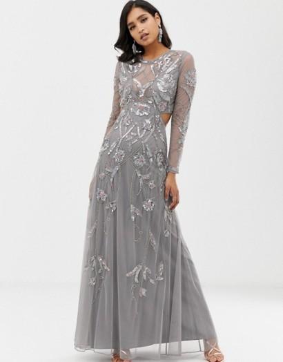 ASOS DESIGN ergonomic embellished maxi dress in grey – glamorous cut-out occasion dresses