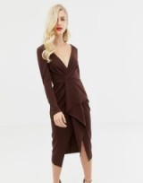 ASOS DESIGN long sleeve textured wrap midi dress in chocolate – dark brown plunging dresses
