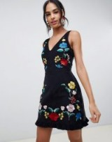 ASOS DESIGN mini dress in cord with floral embroidery in black – pretty party dresses