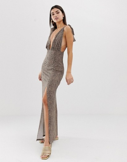 ASOS DESIGN tie strap plunge maxi dress in leopard print – long glamorous party dresses