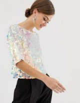 ASOS DESIGN t-shirt with all over square sequin in blue – party tops