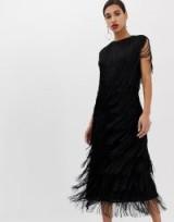 ASOS EDITION fringe column midi dress in black – lbd