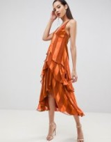 ASOS DESIGN Tall tiered trapeze midaxi dress in soft and solid stripe in burnt orange